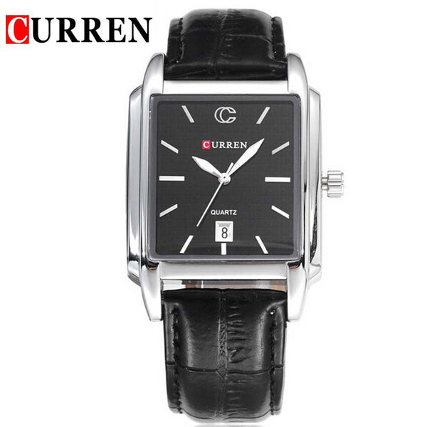 Reloj Hombre Curren Gold Watch Men Leather Date Day Hours Quartz Casual Watches Mens Rectangle Wristwatches 30M Waterproof 8097