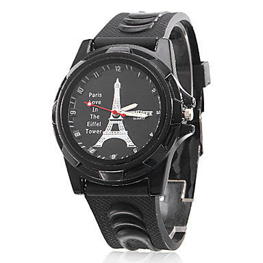 Quartz Men Watch Fashion Casual Eiffel Sports Wristwatches Digital Silicone Strap Watches 2016 New Hot Male Gift Clock TKS008
