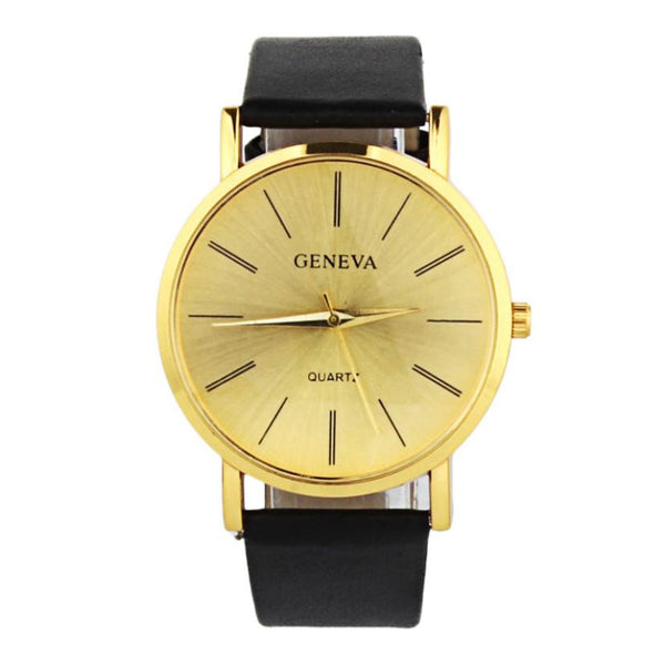 Hot Marketing 2016 New 1PC Geneva Watch Gold Watches Trade Fashion Casual Dignified Simple Table F04