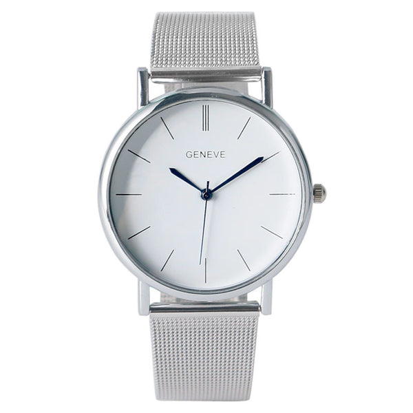 Brand New GENEVE Watch Men Women Simple Clock Hour Blue Analog Quartz Minimalist Mesh Band Bracelet Fashion Wristwatch Hot 2016