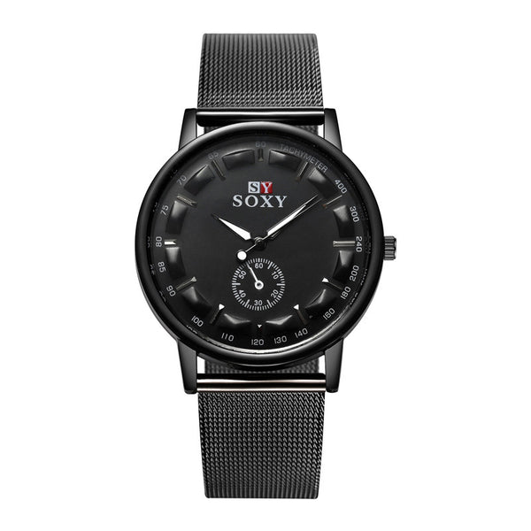 2016 New Hot Sell Brand SOXY Black Mesh belt Wrist Watch Simple Style men quartz watches fashion design male watch montre homme