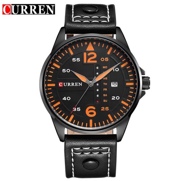 CURREN Fashion Brand Leather Strap Casual Men Sports Watch Quartz Military Wrist Watch Male Clock Auto Date Relogio Masculino