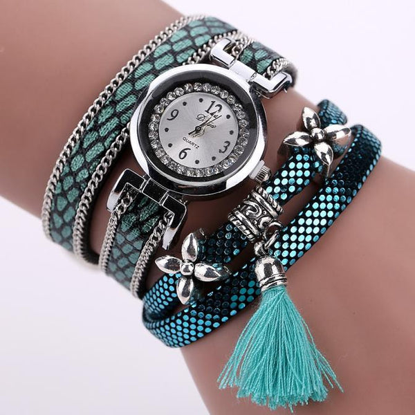 Women's Fashion Ladies Faux Leather Rhinestone Analog Quartz Wrist Watches