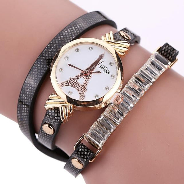Fashion Women's Ladies Faux Leather Rhinestone Analog Quartz Wrist Watches