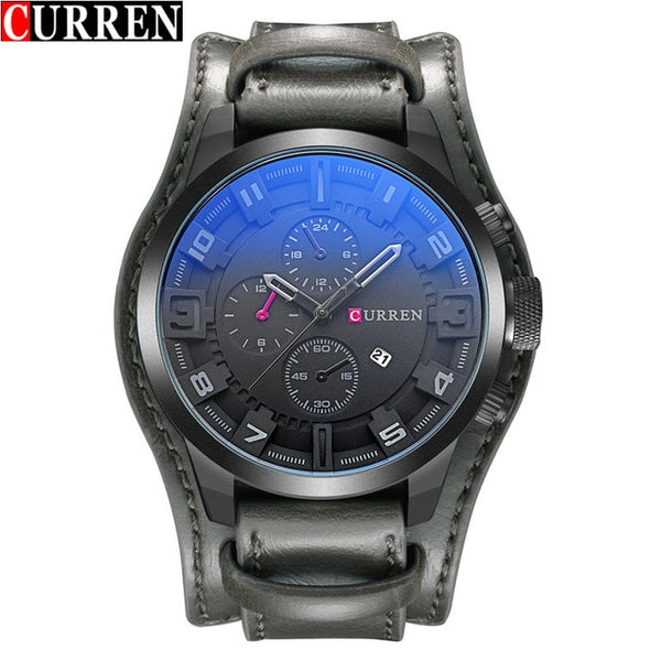 CURREN Top Brand Luxury Quartz Watches Men's Sports Quartz-Watch Leather Strap Military Male Clock Fashion New Gift Relogio