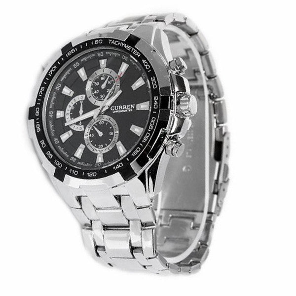 CURREN 8023 Waterproof Men's Round Dial Stainless Steel Band Quartz Wrist Watch with Paper Package Box (Silver+Black)
