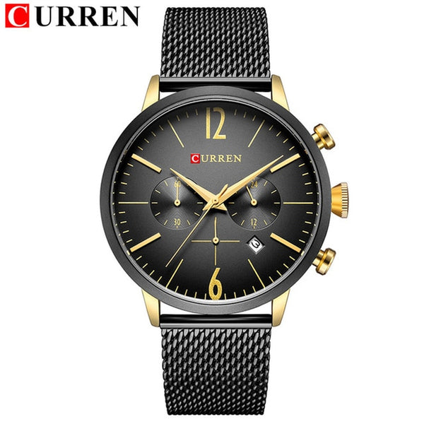 Top Luxury Brand Full steel Quartz Watch Men Sport Chronograph Date Clock Male Business Wrist Watch Mesh Band Relogio NEW