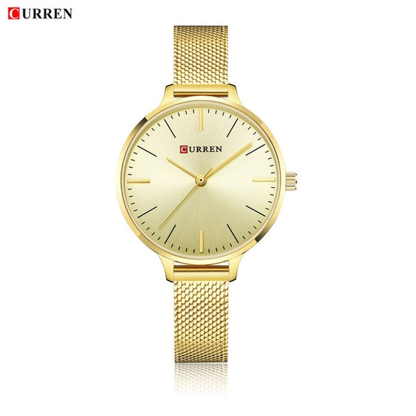 Luxury Fashion Women Quartz Wrist Watch CURREN Ladies Elegant Dress Bracelet Watch Simple Stainless Steel Mesh Strap Gift Clock