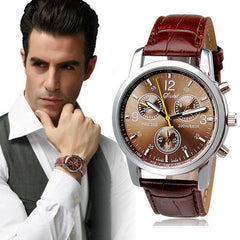 Men'S Casual Fashion Leather Quartz Watch Sports Watch