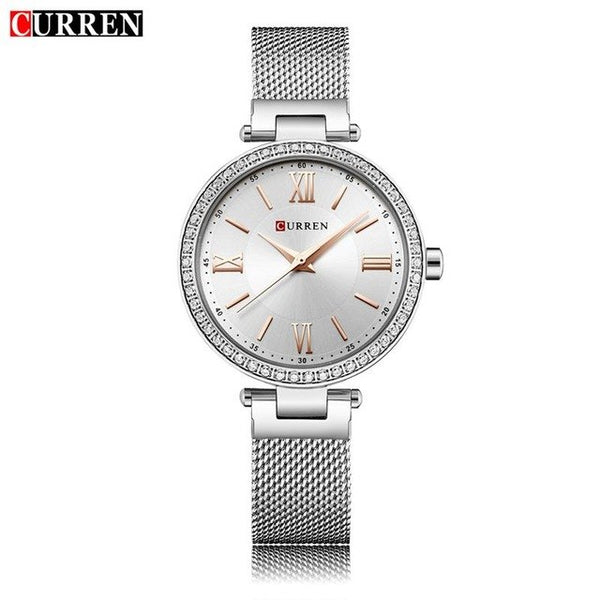 CURREN 9011 Fashion Silver Women Watches High Quality Ultra thin Quartz Watch Woman Elegant Dress Ladies Watch Montre Femme