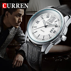 2018 New CURREN Men's Quartz Sports Watches Leather Band Men Analog Date Clock Fashion Casual Watches Men Military Wristwatch