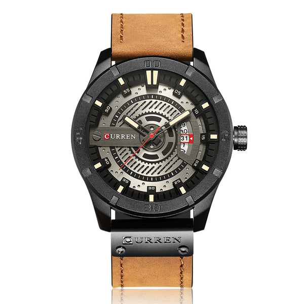 CURREN Fashion Genuine Leather Men Watches 1ATM Life Water-resistant Quartz Casual Man Watch Relogio Musculino