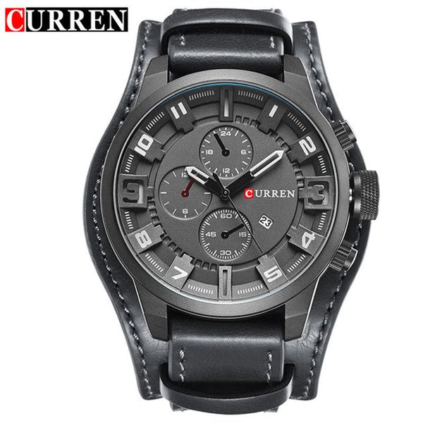 CURREN Top Brand New Mens Fashion Army Military Quartz Mens Watches 3Bar  Luxury Leather Men Watch Casual Sport Male Clock