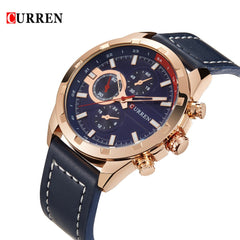 CURREN 2016 Brand Luxury Quartz Mens Watches PU Leather 30M Water-resistant Casual Sports Style Man Wristwatch Business Watch for Man W/ 3 Sub-dials