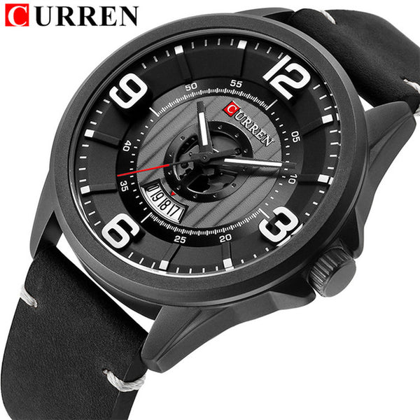 CURREN New Relogio Masculino Luxury Brand Men Fashion Sport Watch Mens Leather Waterproof Quartz Wrist Watches Male Date Clock