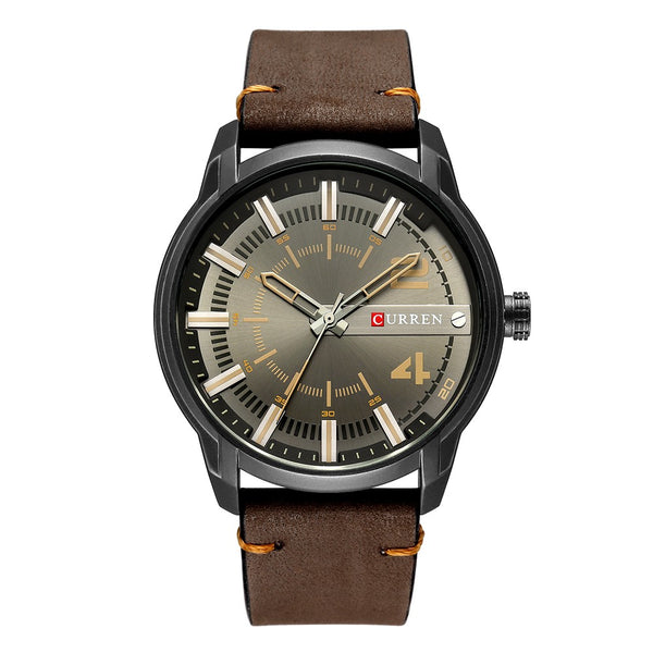 Curren Fashion Leather Watches Men Quartz Analog Date Clock Male Wristwatches Relogio Masculino