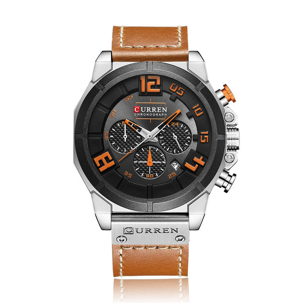 CURREN Fashion Sport Genuine Leather Men Watches 1ATM Life Water-resistant Quartz Man Watch Relogio Musculino Chronograph