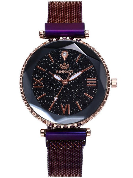 Best Selling Women Mesh Magnet Buckle Starry Sky Watch Casual Luxury Women Geometric Surface Quartz Watches Relogio Feminino
