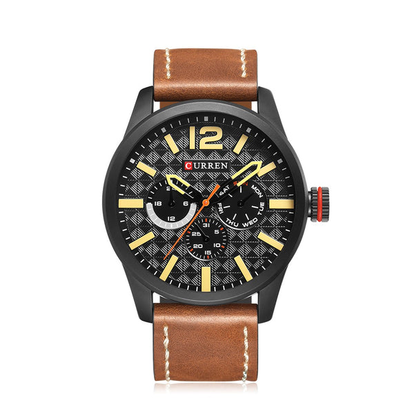 CURREN 2017 Luxury Sports Style Water-Proof Quartz Men Watch PU Leather Band Chrono Cool Man Casual Wristwatch Masculino Relogio