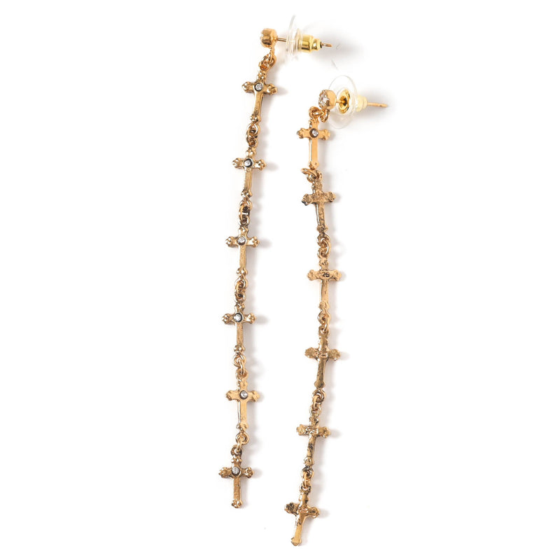 For Love of Lovers cross earrings - post - 925 sterling silver gold vermeil - VSA Designs