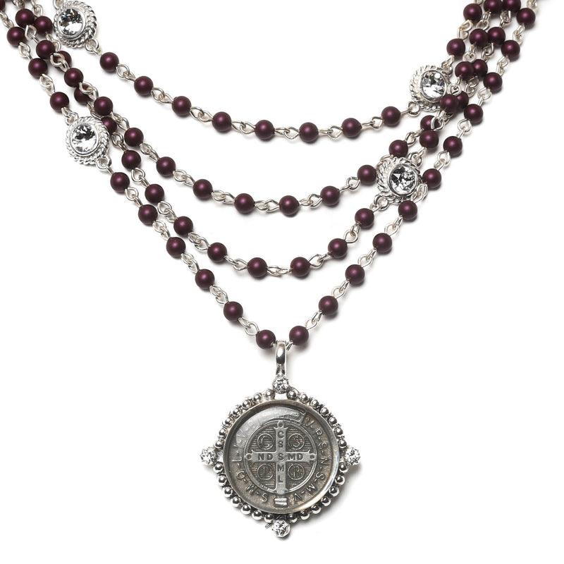 Bespoke San Benito Magdalena - 4mm crystal pearl beads - sterling silver plated bronze - VSA Designs