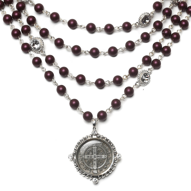 Bespoke San Benito Magdalena - 6mm crystal pearl beads - sterling silver plated bronze - VSA Designs
