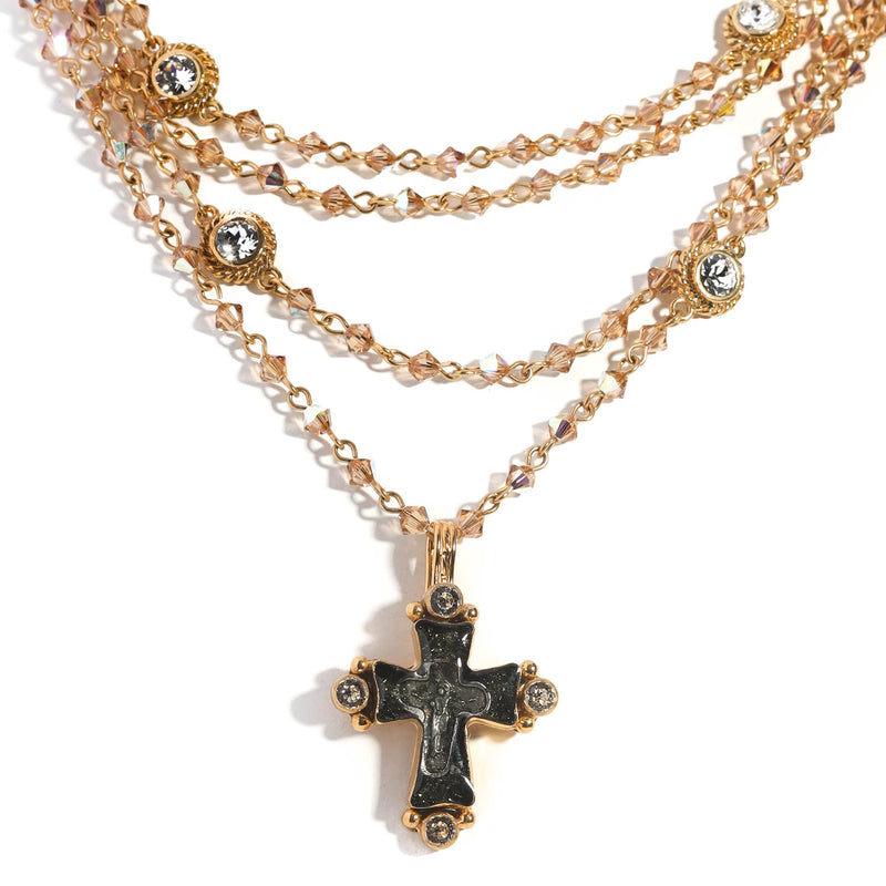 Maria Cross Magdalena - 4mm bicone beads - 18kt gold plated bronze - VSA Designs