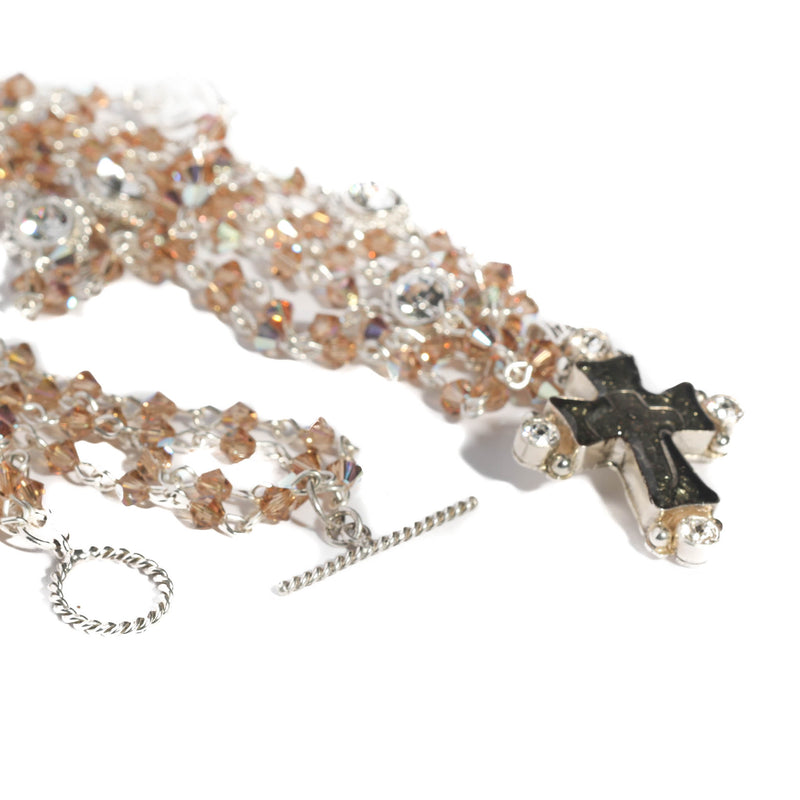 Maria Cross Magdalena - 4mm bicone beads - sterling silver plated bronze - VSA Designs