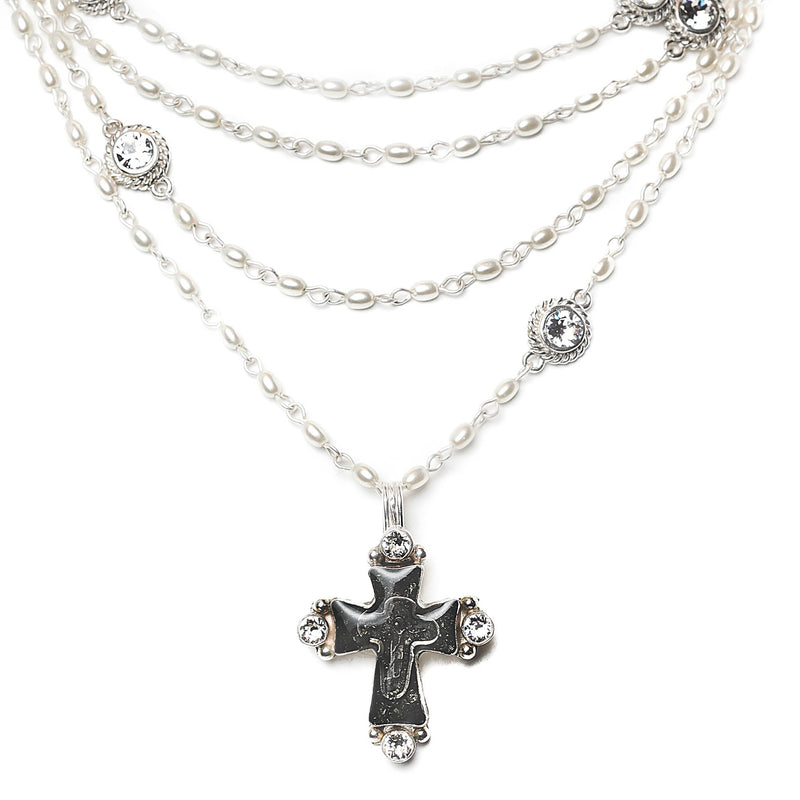 Maria Cross Magdalena - 4mm rice shape pearl beads - sterling silver plated bronze - VSA Designs