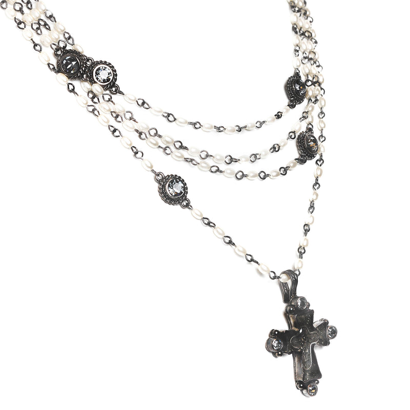 Maria Cross Magdalena - 4mm rice shape pearl beads - gunmetal plated bronze - VSA Designs