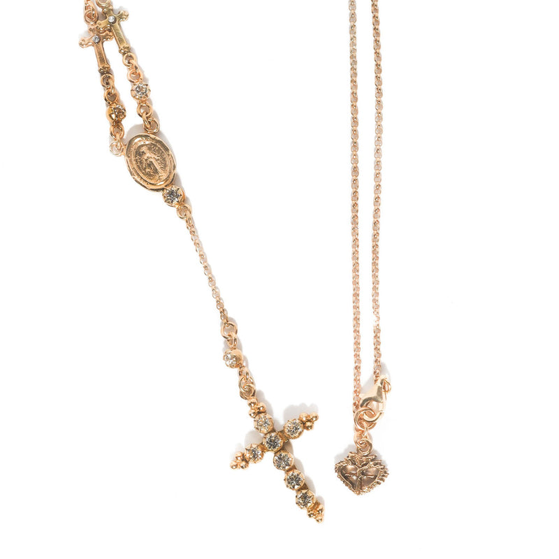 "Lovers Rosary necklace - 18"" chain - 925 sterling silver gold vermeil - VSA Designs"