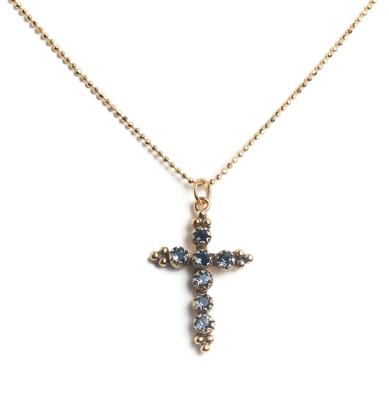"Madonna Cross 17"" Necklace - 925 Sterling silver gold vermeil - VSA Designs"