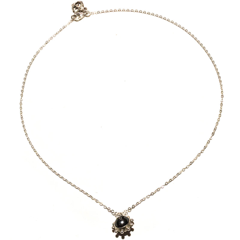 Vivienne Tallulah 1 Orb Chain Necklace Sterling Gold-dark grey pearl - VSA Designs