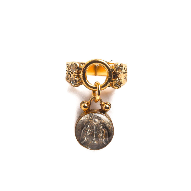 Luvie Dangle ring with guardian angel medallion-bronze gold - VSA Designs