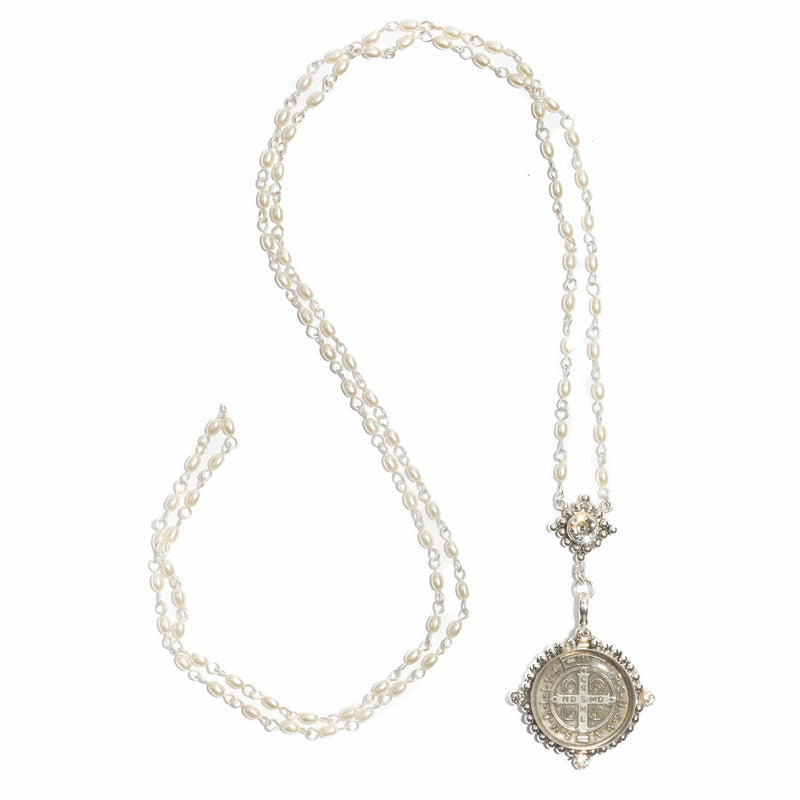 Bespoke San Benito rosary - 4mm rice shape pearl beads - sterling silver plated bronze