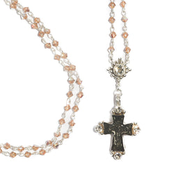 Maria Cross Rosary - 4mm Bicone - Silver