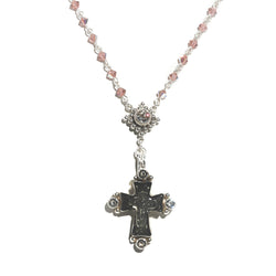 Maria Cross Rosary - 4mm bicone beads - sterling silver plated bronze