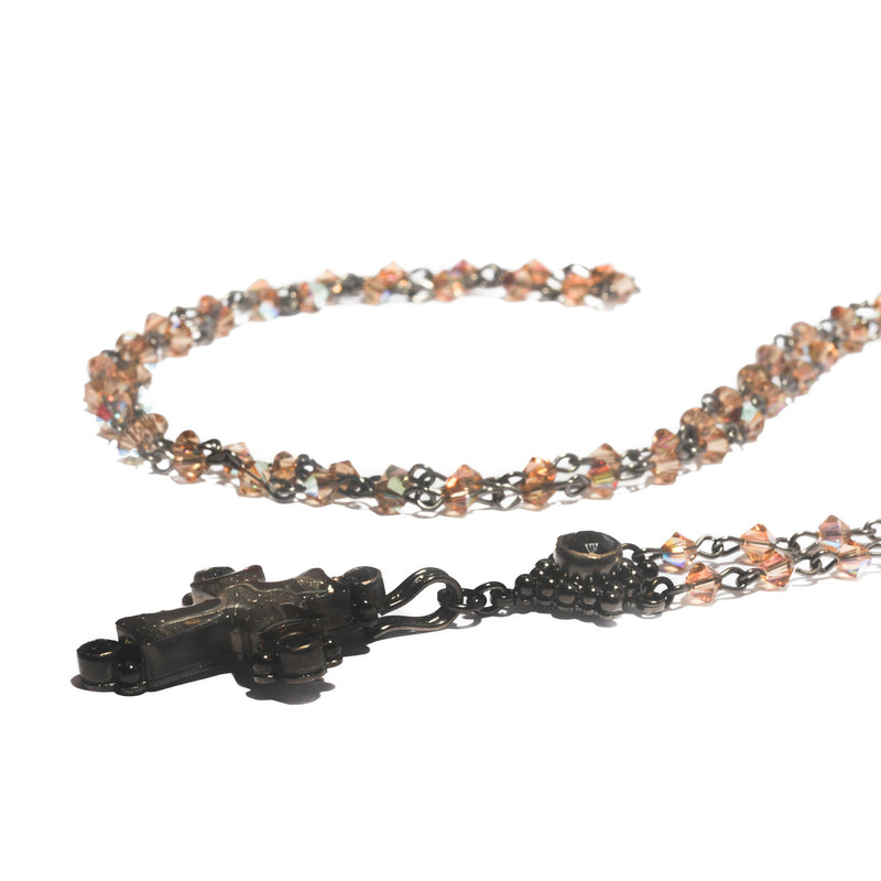 Maria Cross Rosary - 4mm bicone beads - gunmetal plated bronze