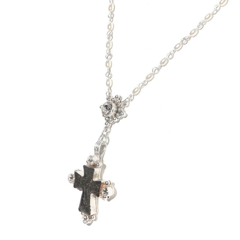 Maria Cross Rosary - 4mm rice shape pearl beads - sterling silver plated bronze