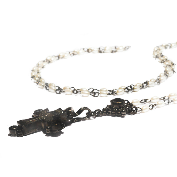 Maria Cross Rosary - 4mm rice shape pearl beads - gunmetal plated bronze
