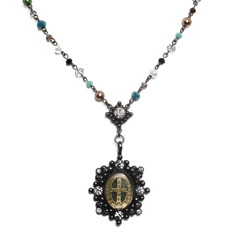 Oval San Benito Lux Rosary Gunmetal-mixed pearl stained glass-silver night - VSA Designs