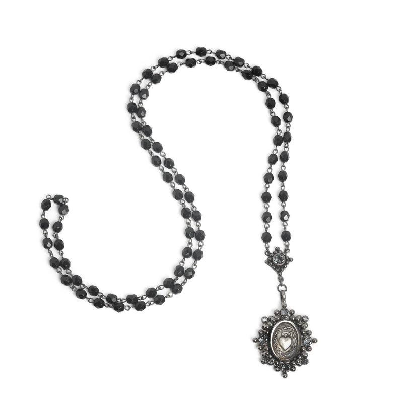 Oval Sacred Heart Crystal 6mm Rosary Gunmetal-jet-silver night - VSA Designs