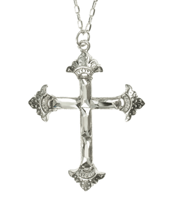 The Resurrection Crystal Cross Necklace-Silver