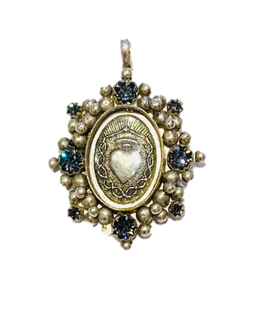 Oval Sacred Heart Charm Silver/Silver Night Promo