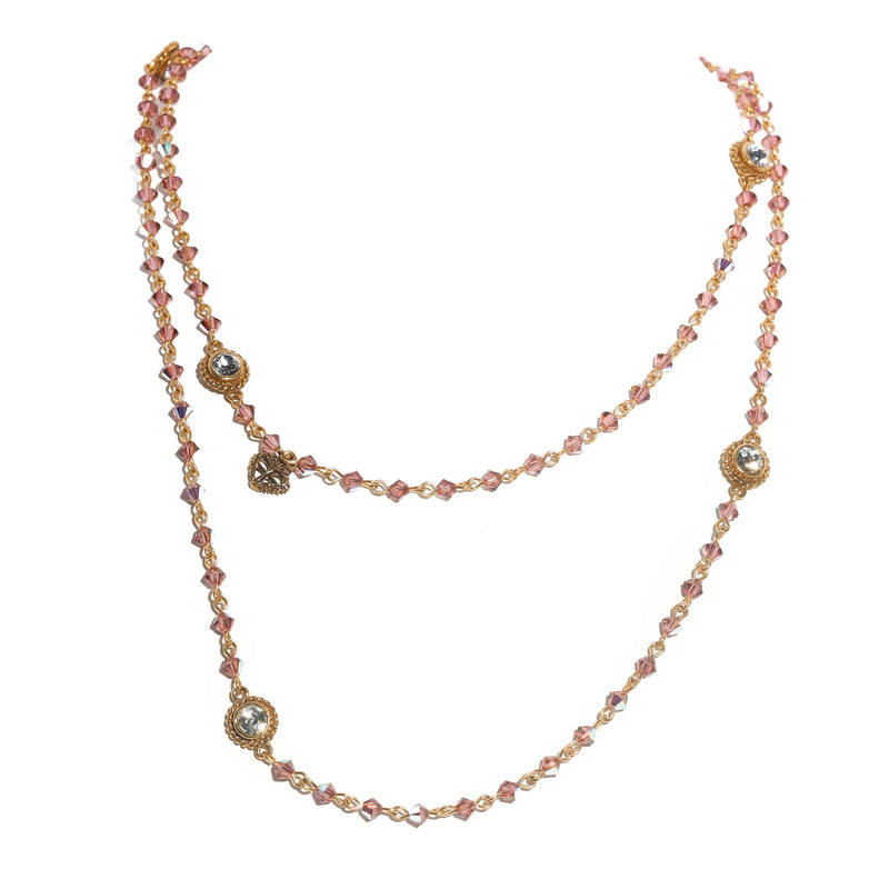Classic Wrap Necklace - 4mm bicone beads - 18kt gold plated bronze
