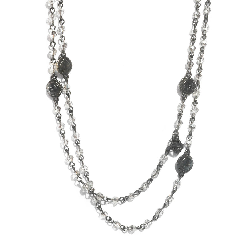 Wrap Necklace - 4mm Crystal - Gunmetal - Discontinued
