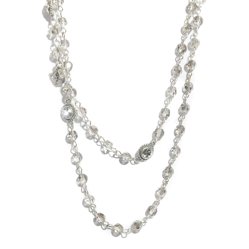 Wrap Necklace - 6mm Crystal - Silver