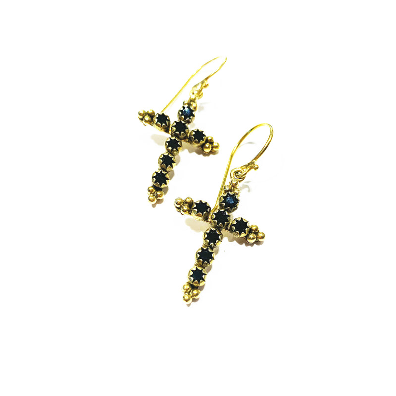 Madonna Cross earrings - hook -  Gold - DISCONTINUED