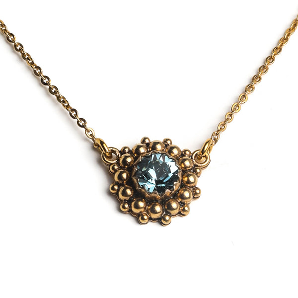 "Viv Charm 18"" Necklace Sterling Gold-indian sapphire - VSA Designs"