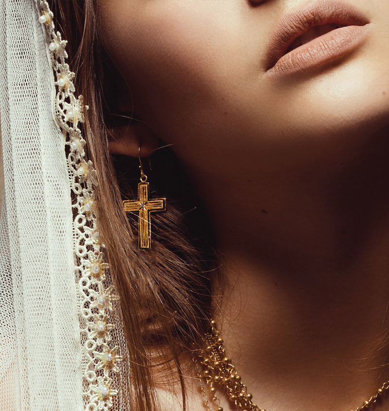 Santisimo Mini Cross Earrings - VSA Designs